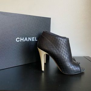 Chanel Black/White Leather Open Toe Ankle Booties